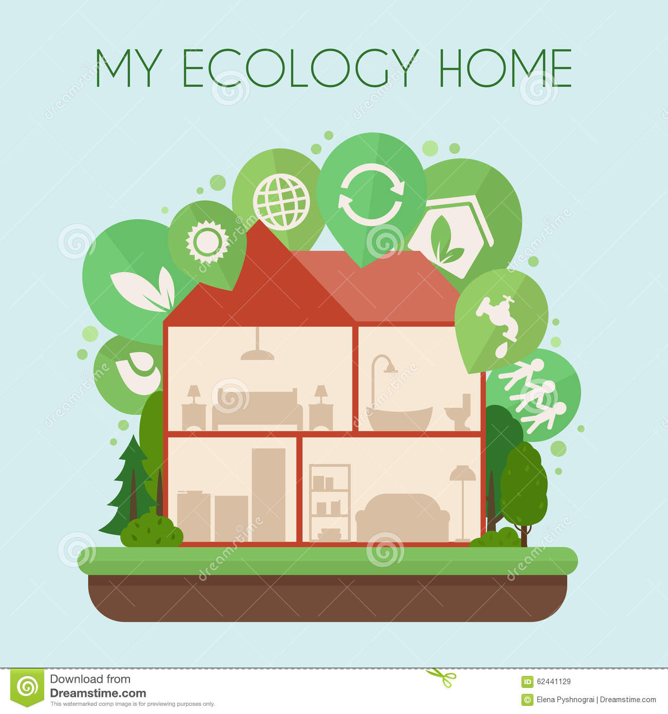 Eco-friendly Home Infographic. Stock Vector