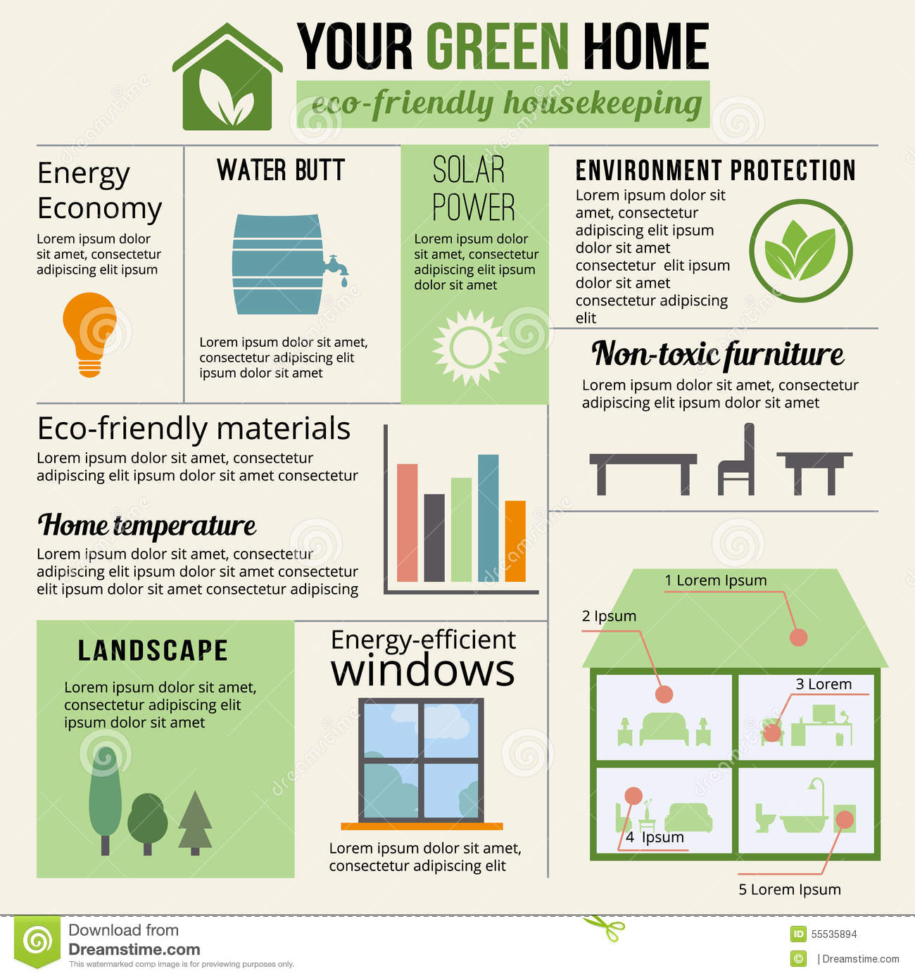 Eco-friendly Home Infographic. Stock Vector - Illustration