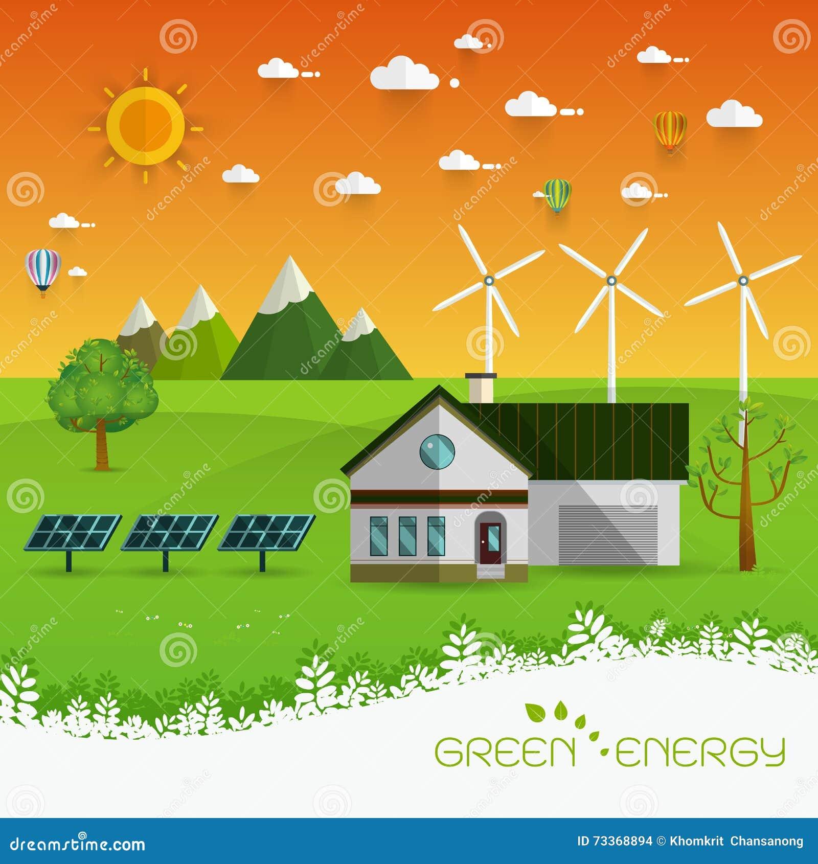 Environmental Concept Earthfriendly Landscapes: Eco Friendly House Stock Vector