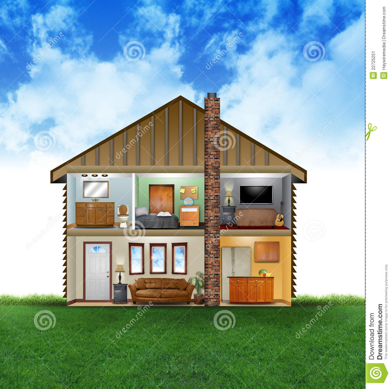 Eco friendly house interior stock illustration image for Ecological home
