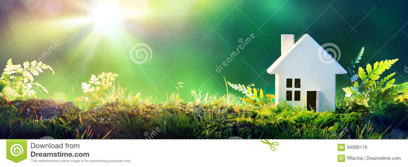 Download Eco Friendly House - Paper Home On Moss Stock Image - Image of conservation, real: 84006119