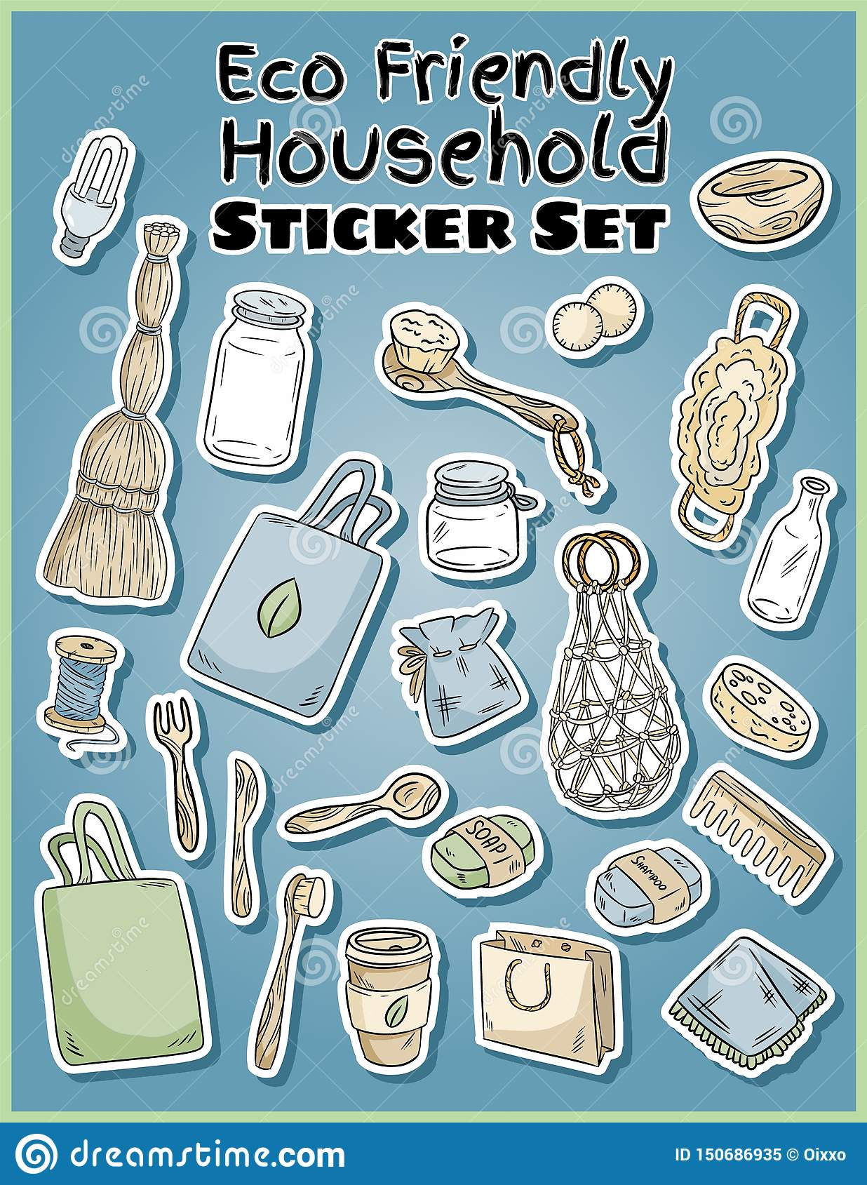 Eco friendly household stickers set. Ecological and zero-waste collection of labels. Go green living