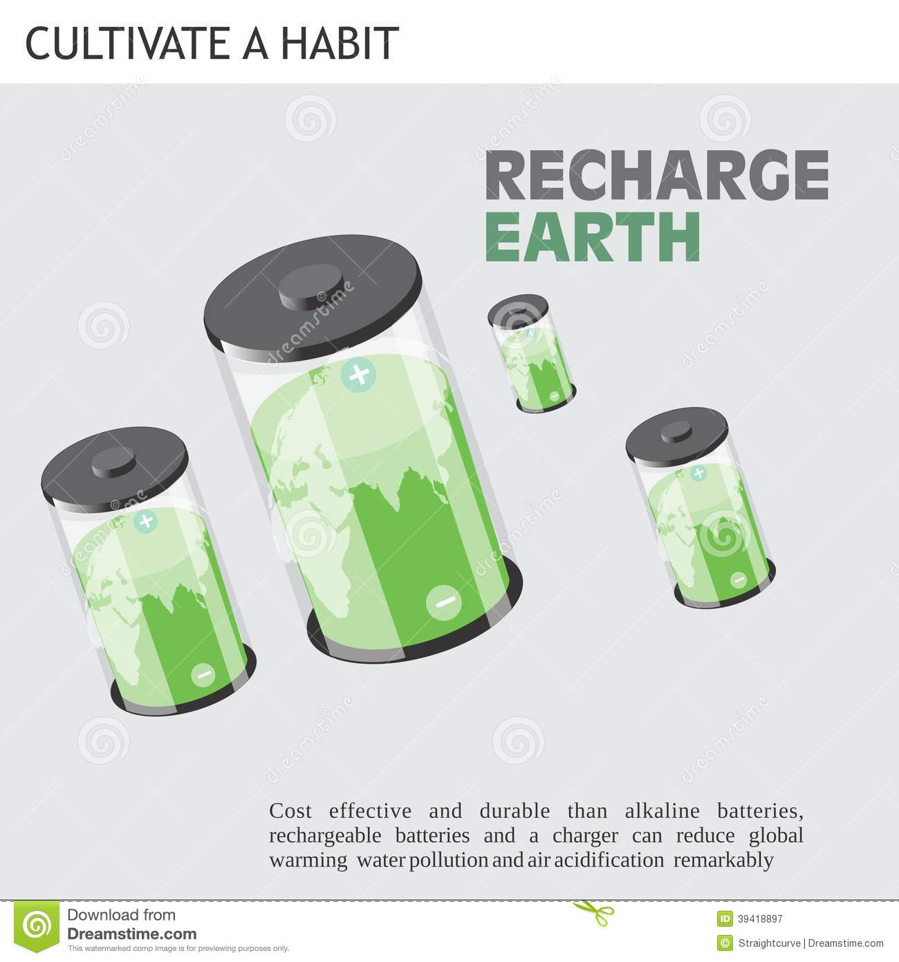 Eco Friendly Ideas Recharge Earth Stock Vector Image 39418897