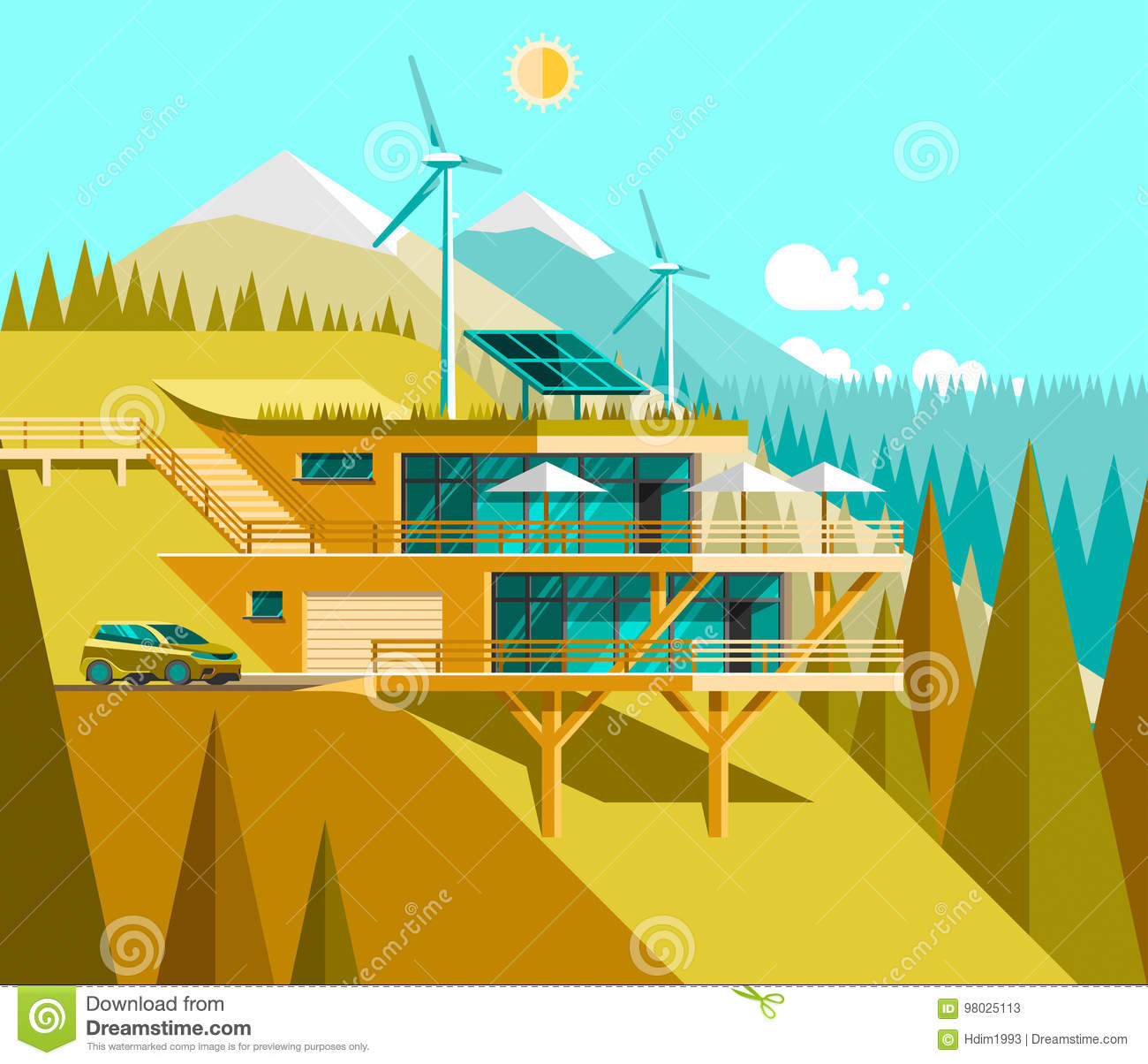 Eco Friendly Modern House Green Architecture Solar Panel Wind