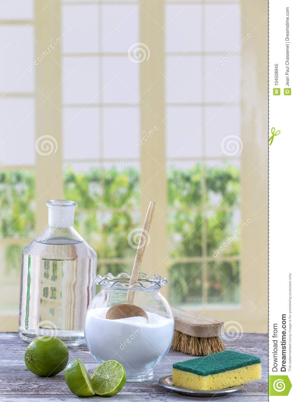 Eco-friendly Natural Cleaners Baking Soda, Lemon And Cloth On Wooden ...