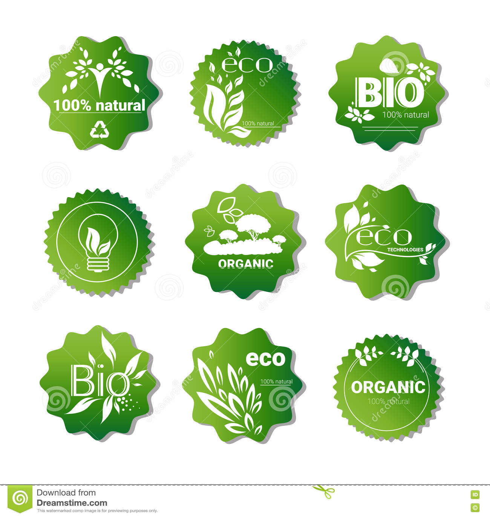 59babb769bc Eco Friendly Organic Natural Product Web Icon Set Green Logo Flat Vector  Illustration