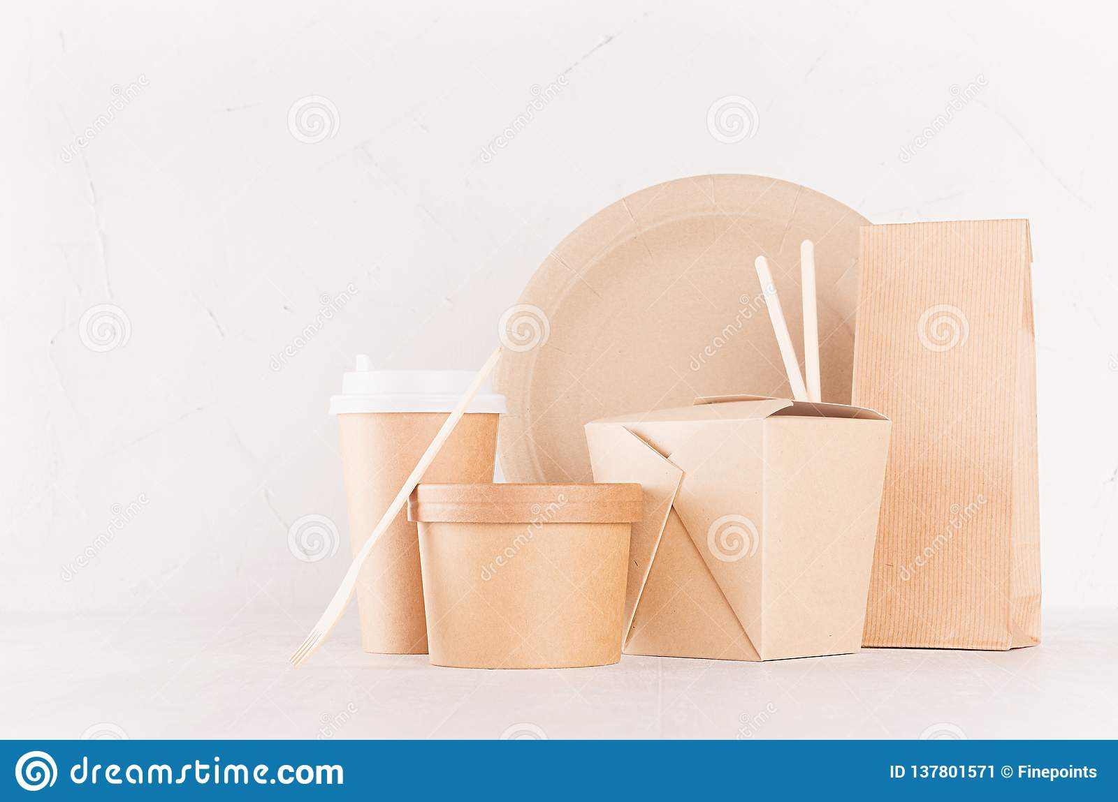 Eco friendly recycling paper packing for fast food, template for design, advertising and branding - blank bag, cup, box.