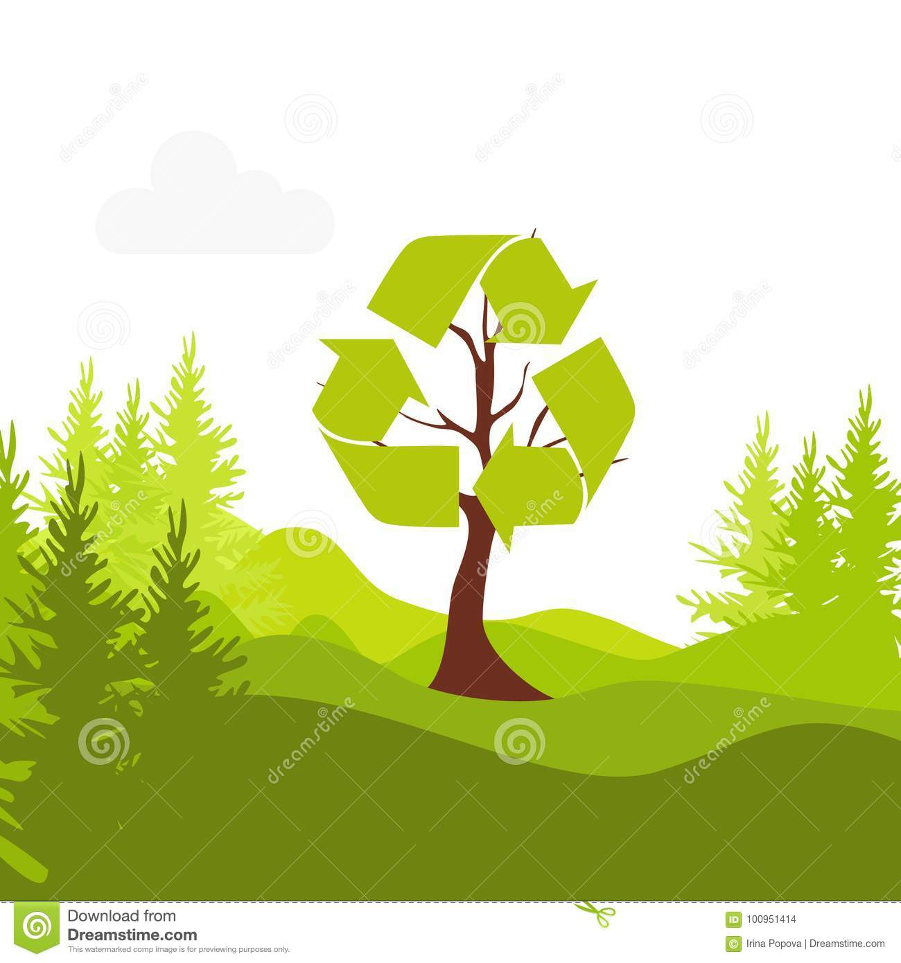 Eco Friendly The Recycling Symbol On The Tree The Concept Of E