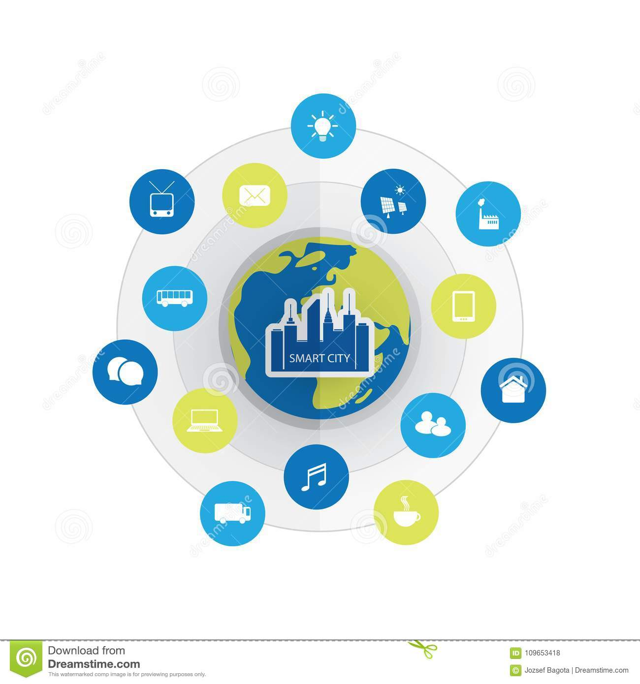 Eco Friendly Smart City Design Concept With Icons - Cloud Computing ...