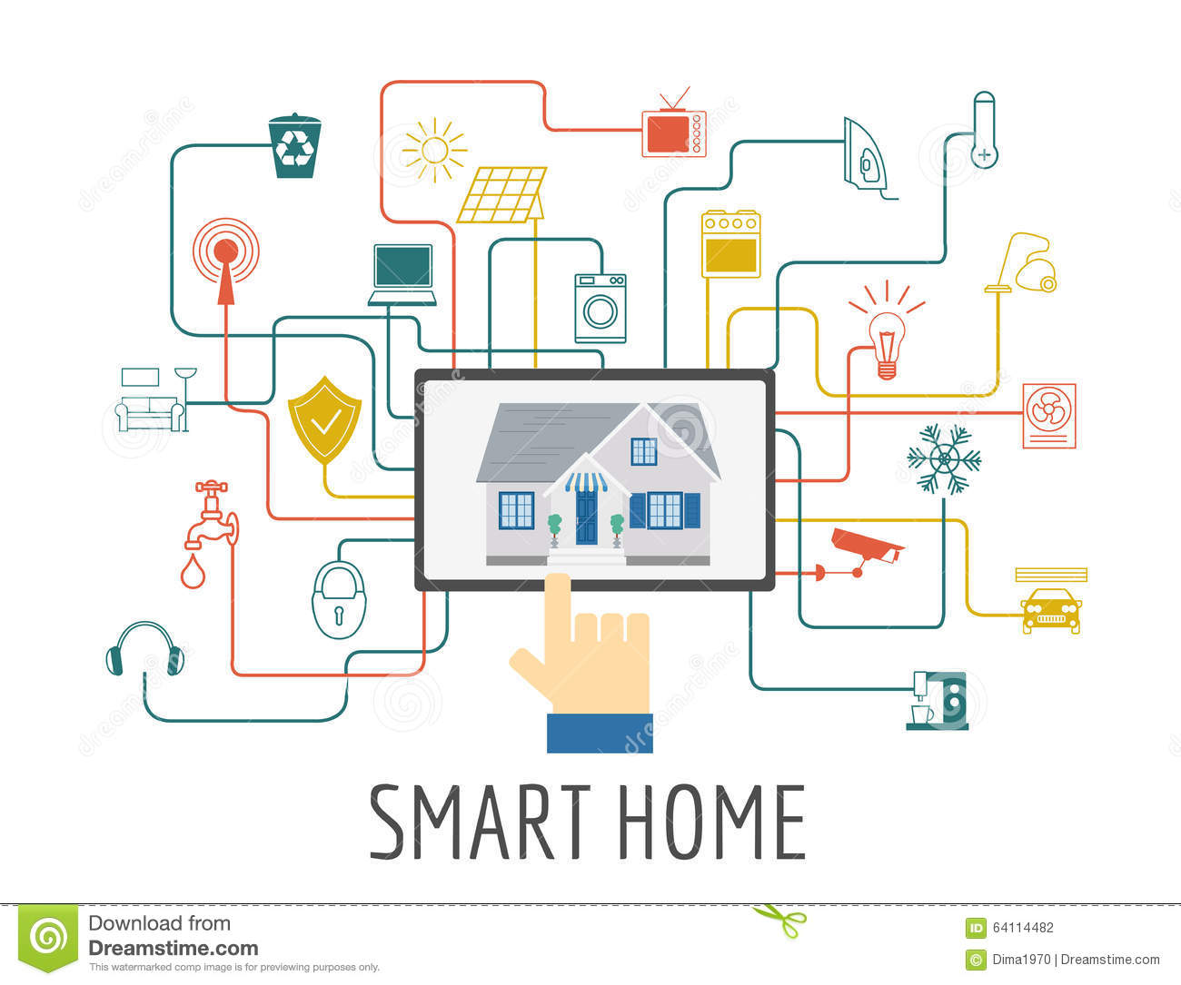 Eco Friendly Smart House Concept Infographic Template Flat Sty Stock Vector