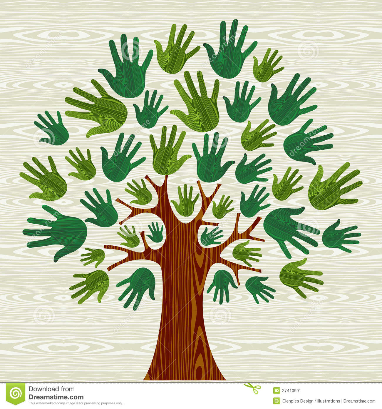 Eco Friendly Tree Hands Stock Vector. Illustration Of