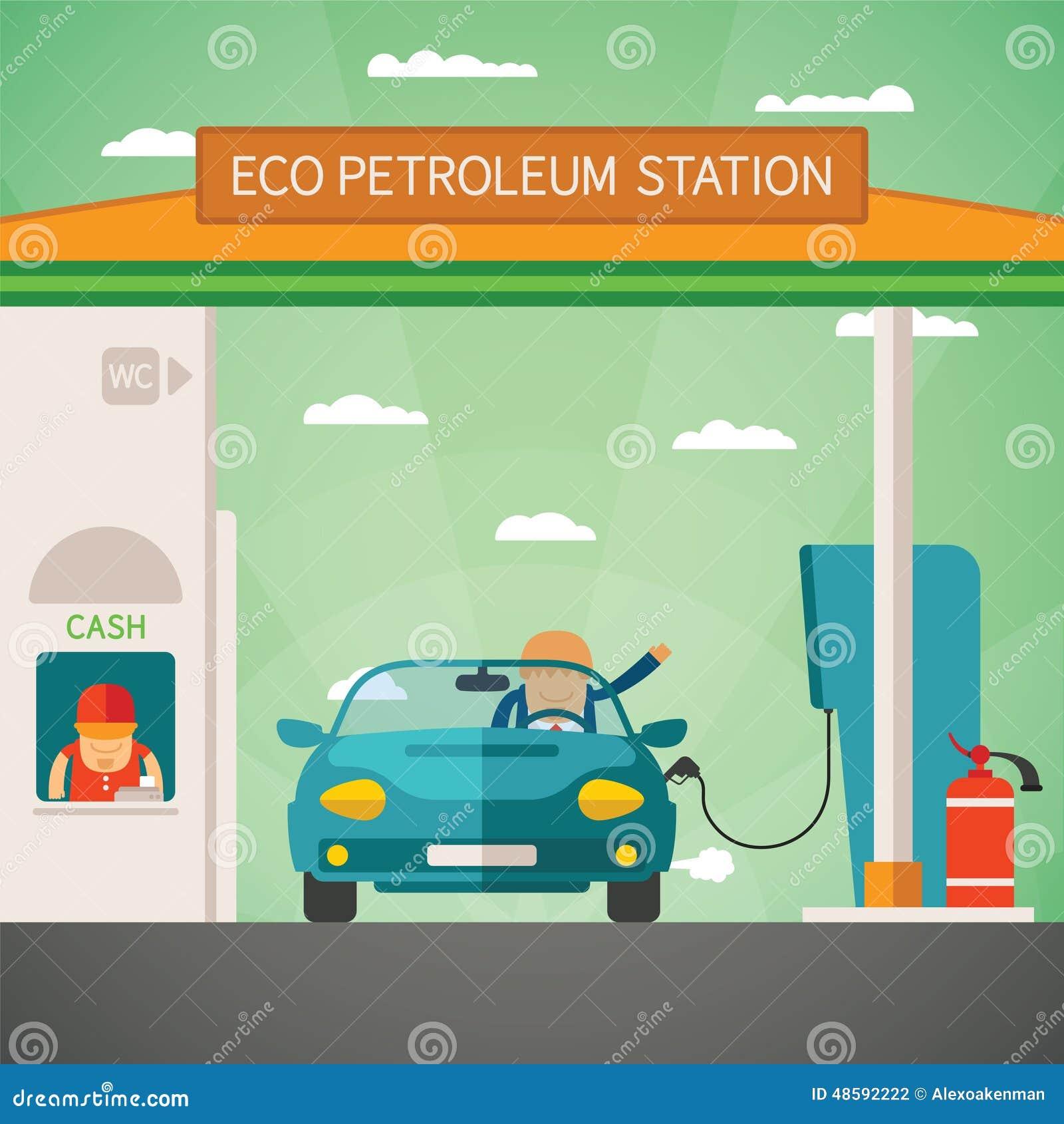 filling gun on refueling the car and fire extinguisher vector illustration. Black Bedroom Furniture Sets. Home Design Ideas