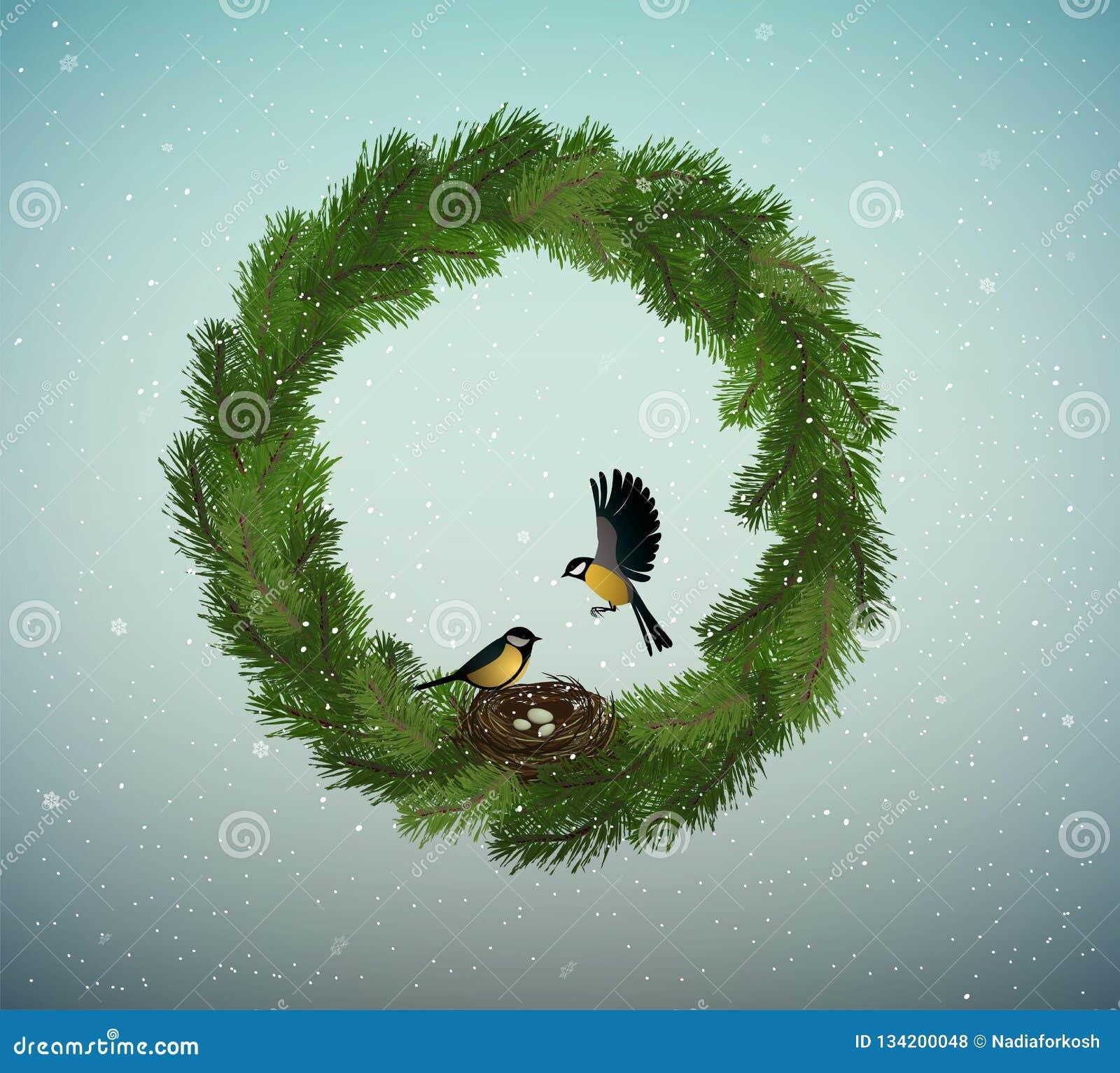 Eco-Grün-Feiertagsidee, Kranz von Weihnachtsbaumasten mit Nest und zwei Vögel nach innen, süßes Haus, schützen den Wald