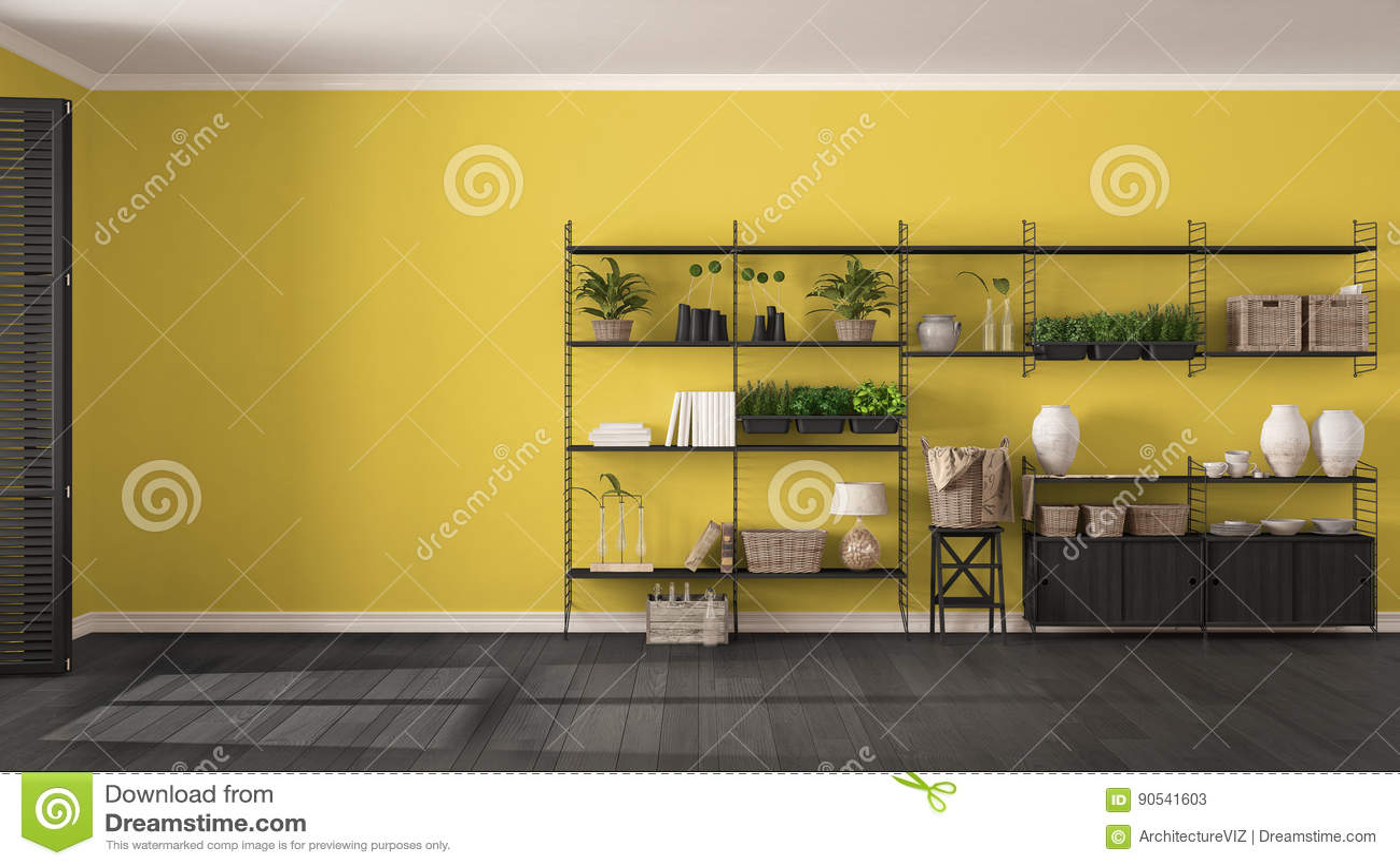 Eco Gray And Yellow Interior Design With Wooden Bookshelf, Diy V ...
