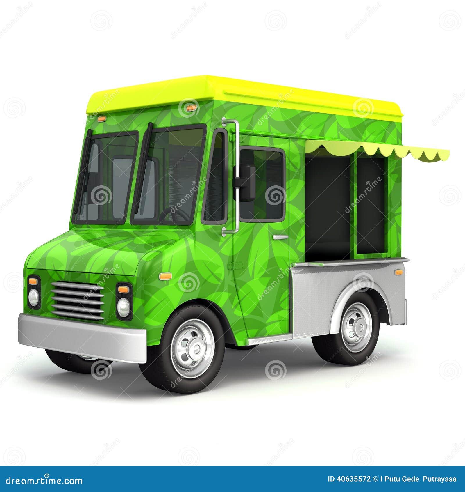 eco green food truck side stock illustration illustration of food 40635572. Black Bedroom Furniture Sets. Home Design Ideas