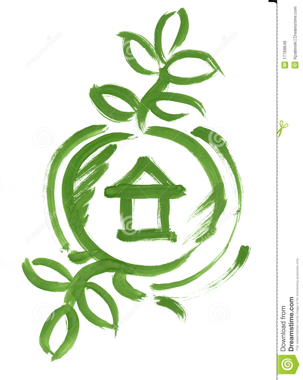 Eco Green House In Circle Web Icon Sketch Paint Royalty