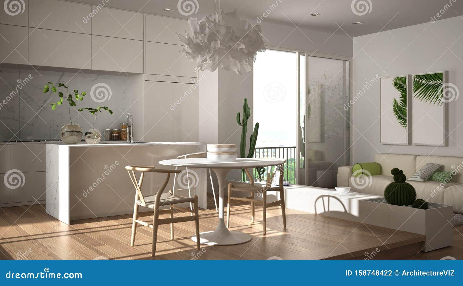 eco green interior design white living room with sofa