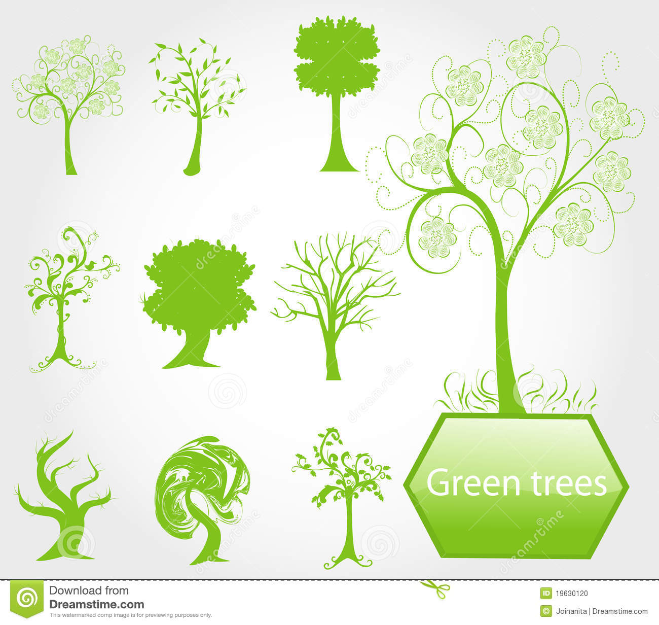 Eco Green Trees Stock Vector. Illustration Of Organic