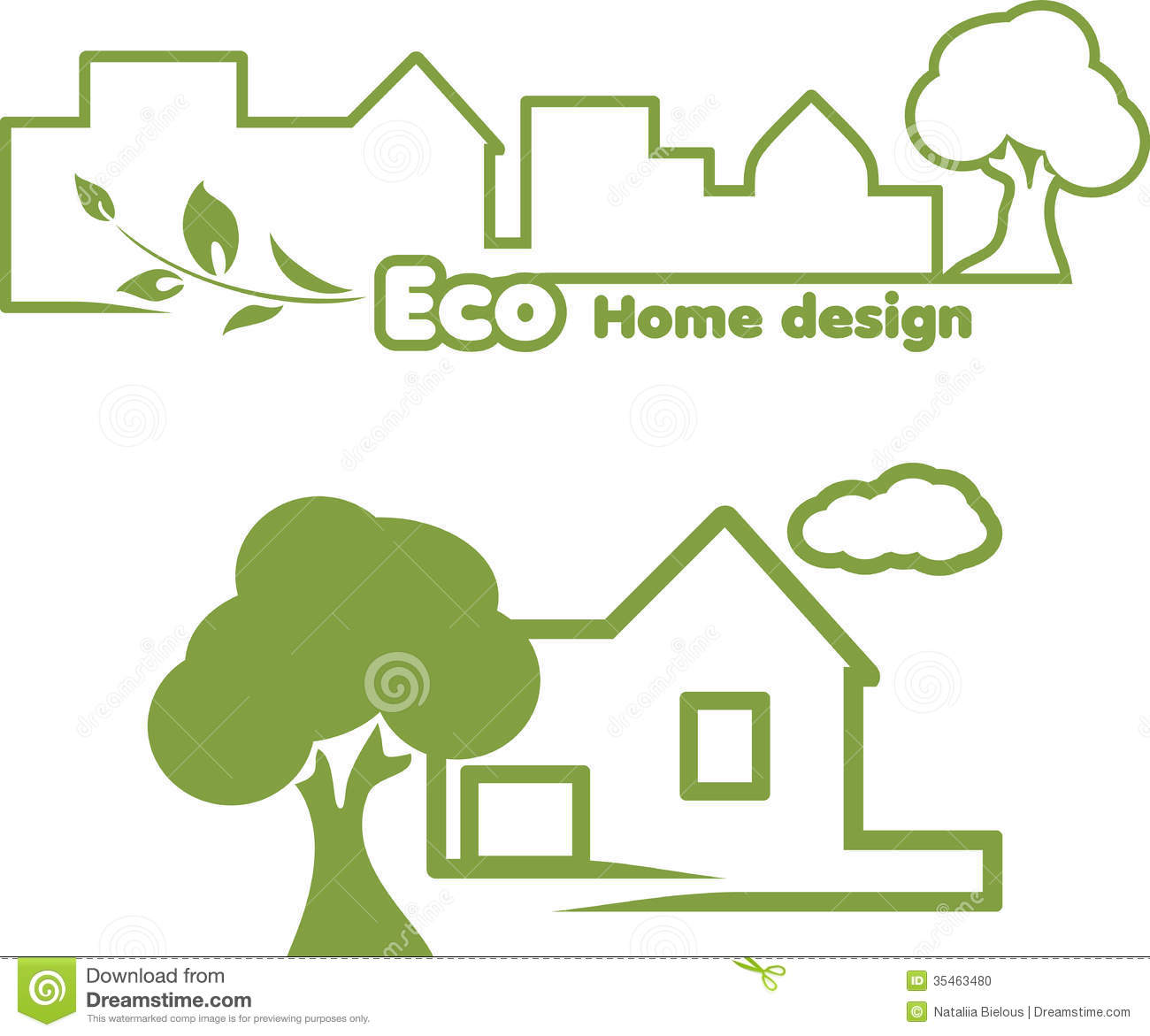 Eco Home Design Icons For Design Stock Photo Image - Eco home design