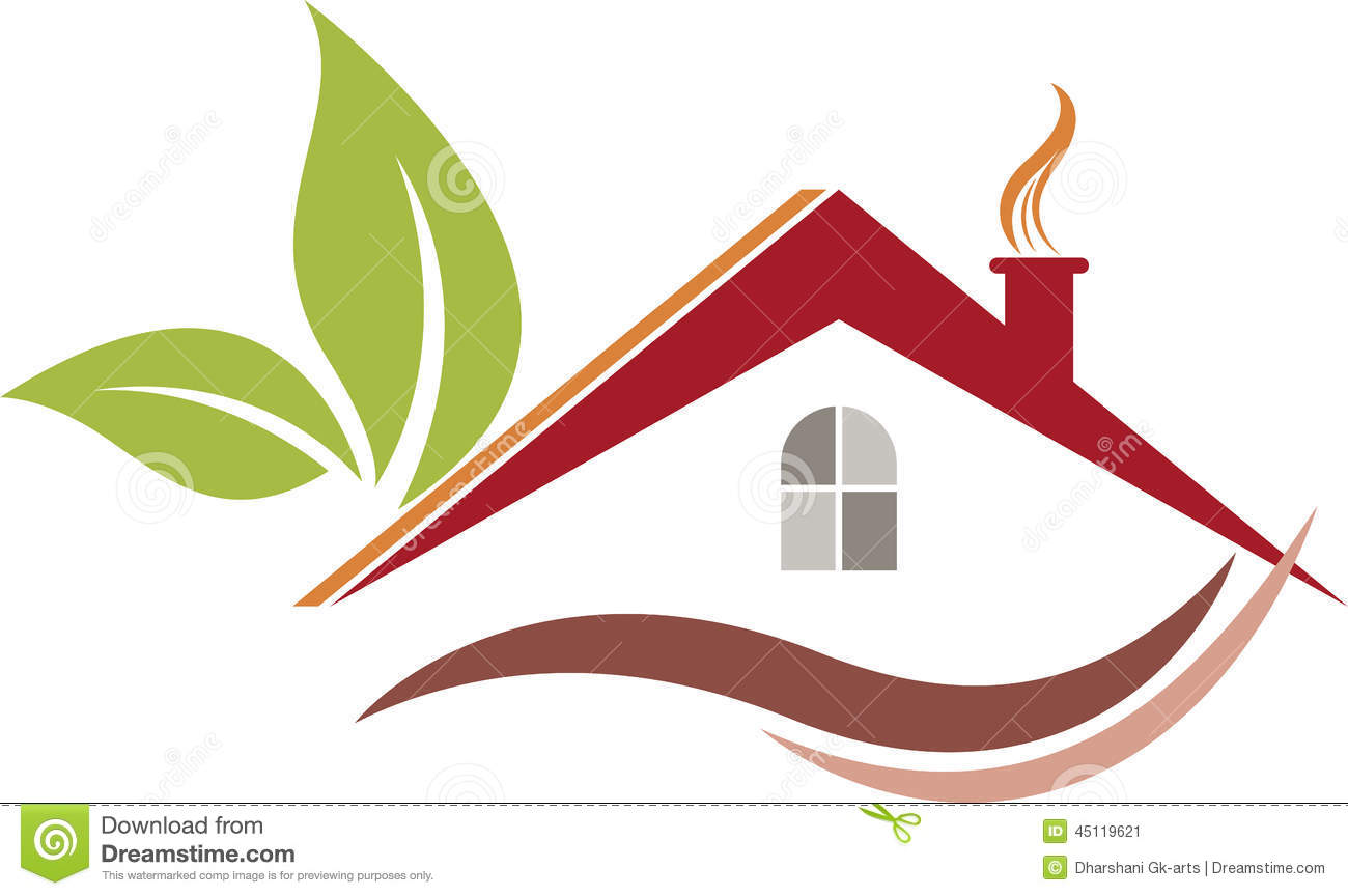 Illustration art of a Eco home logo with isolated background.