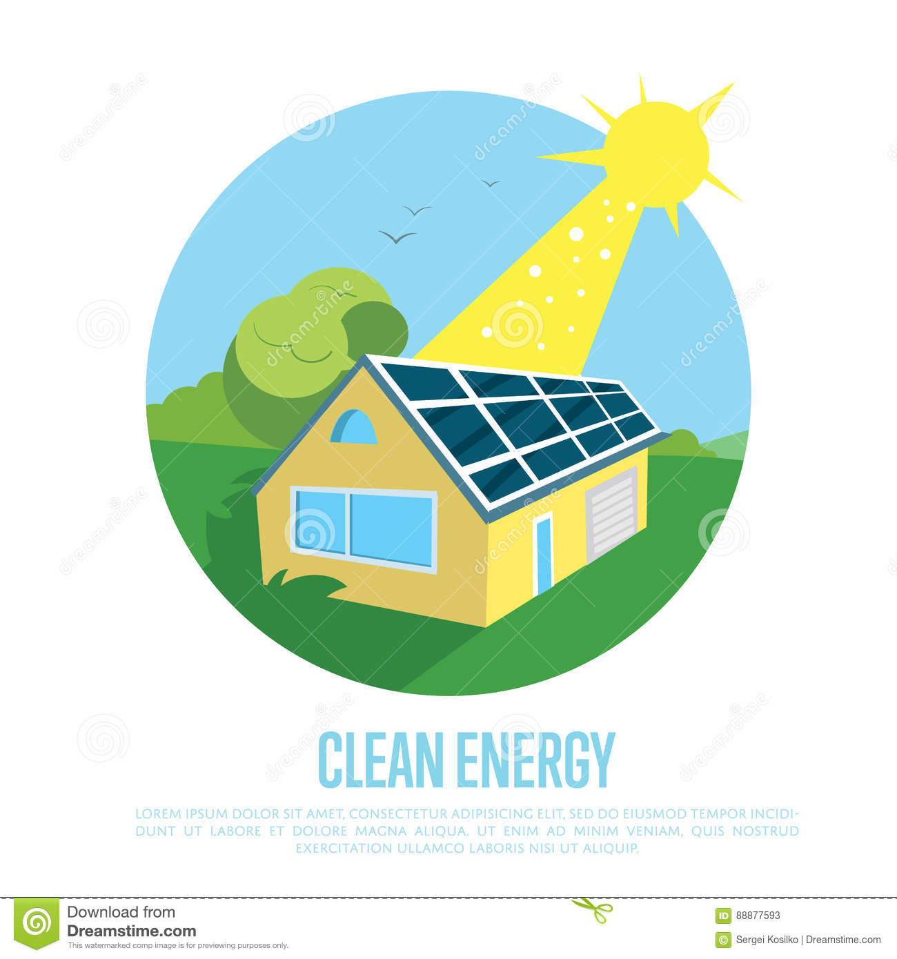 Eco House With Blue Solar Panels On The Roof Stock Illustration Simple Power Diagram Energy