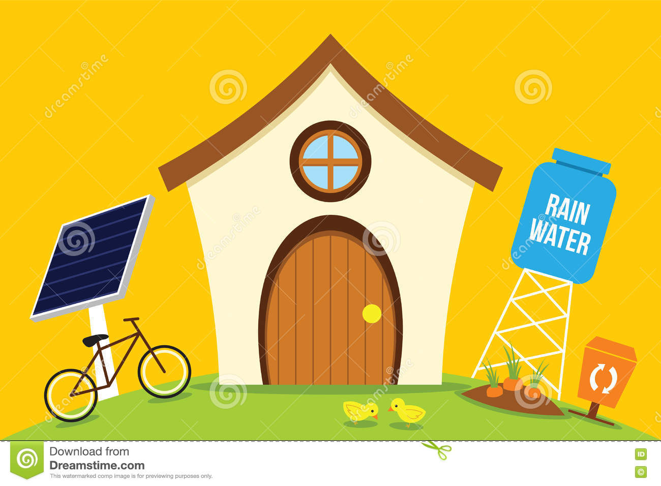 Eco house save energy with go green