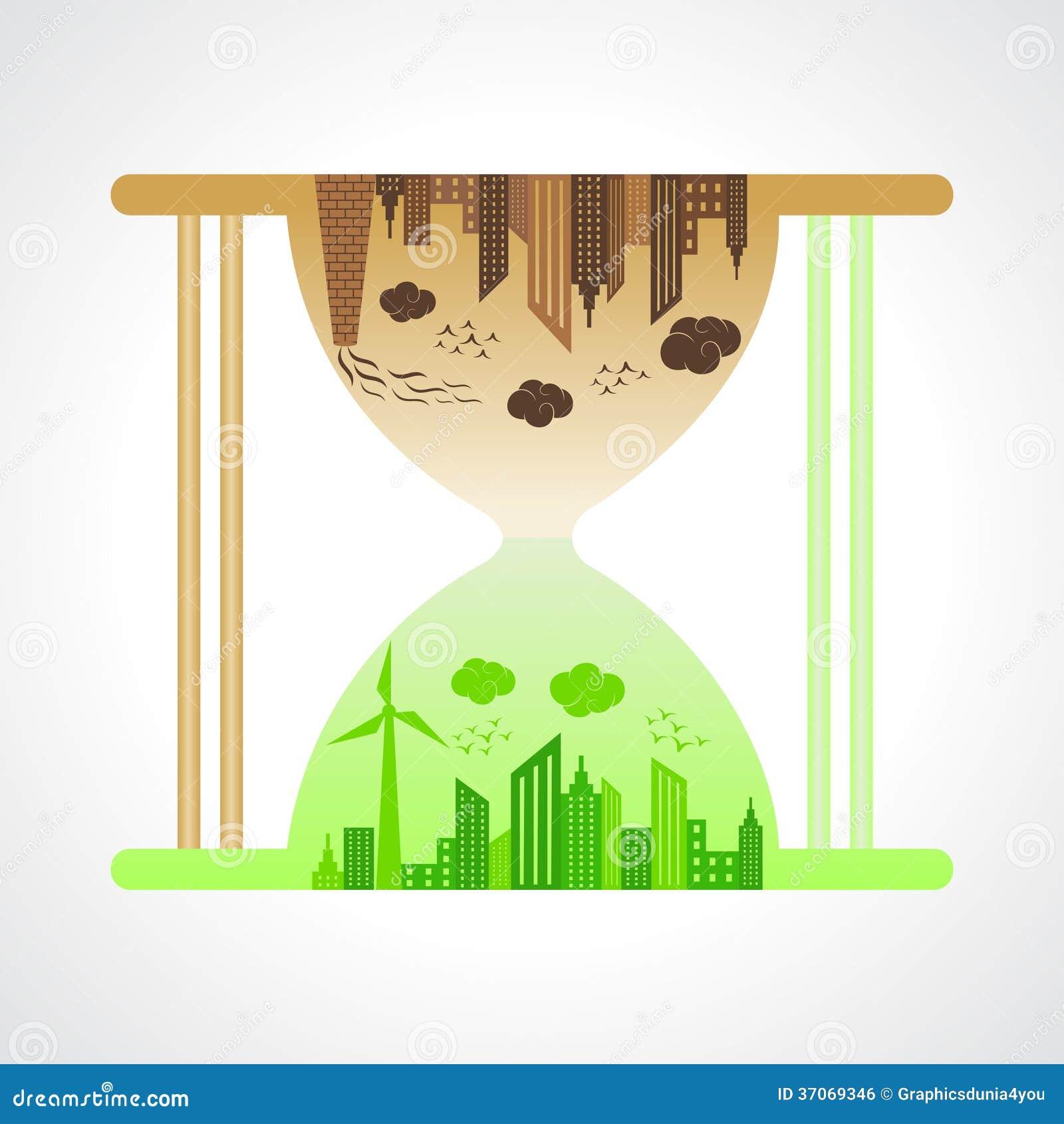 Eco i zanieczyszczający miasta pojęcie z piaska zegarkiem