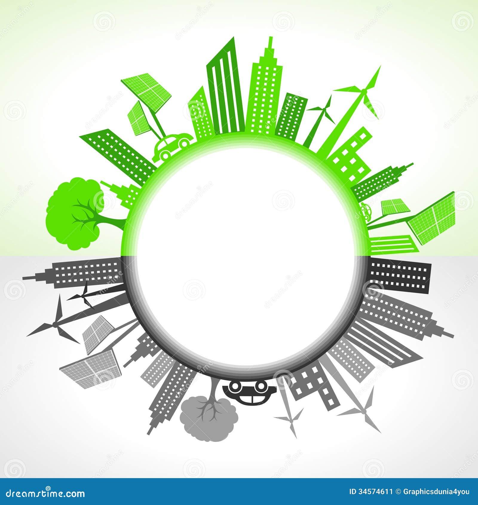 Eco i zanieczyszczający miasto wokoło okręgu