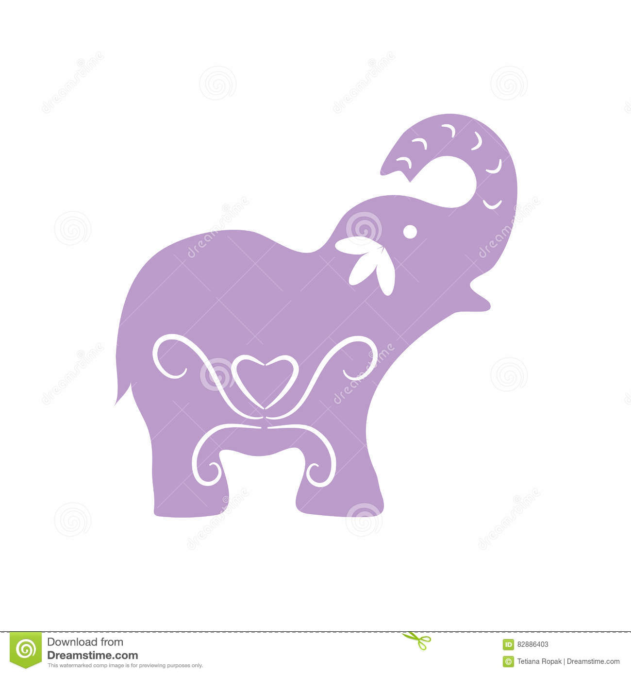 eco icon violet elephant symbol vector illustration