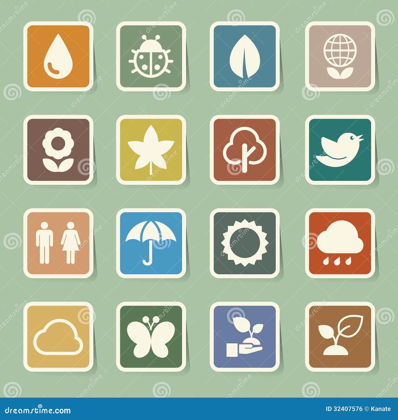 Eco Icons Set. Royalty Free Stock Image - Image: 32407576