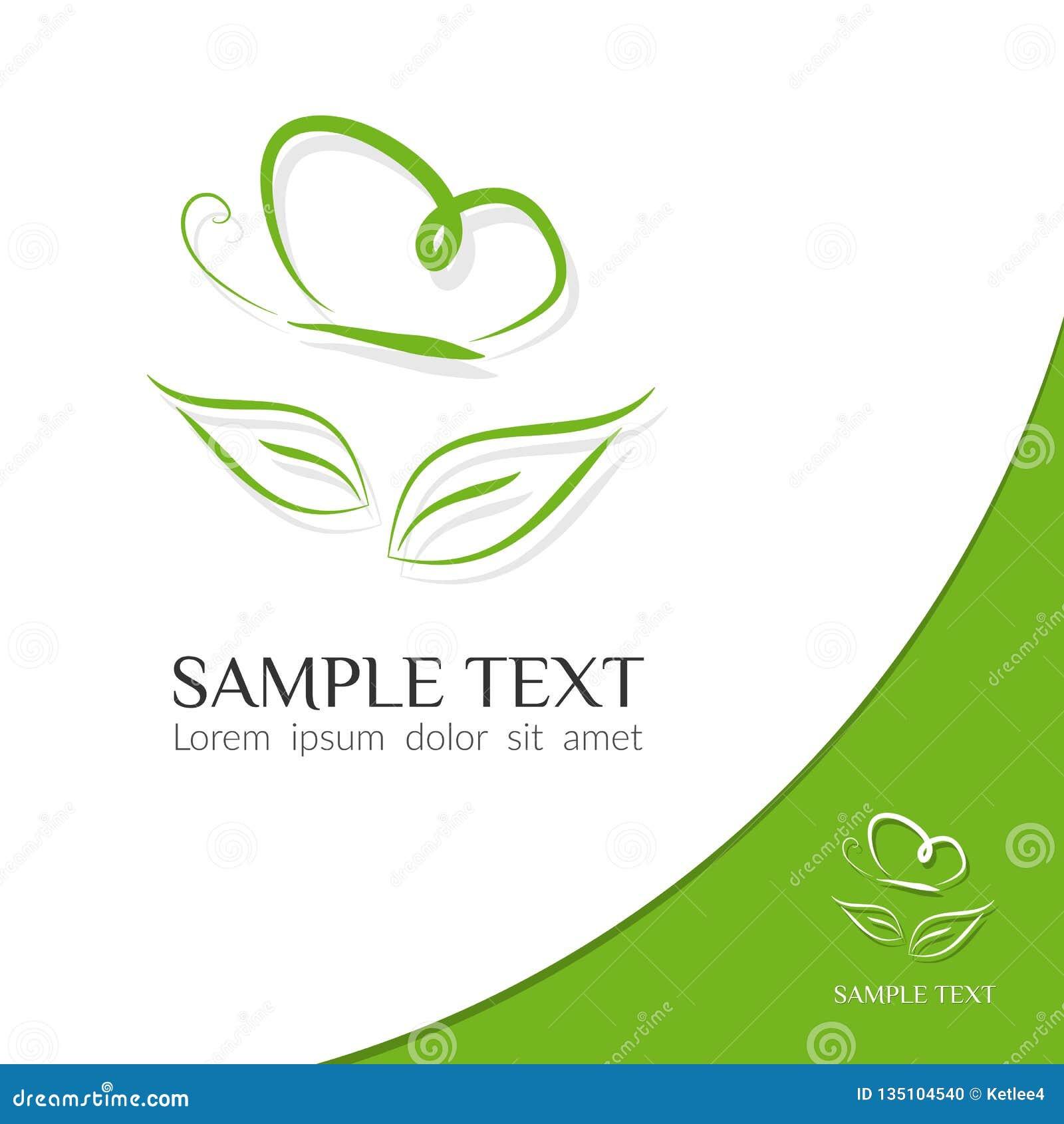 Eco ikony zieleni symbolu motylie linie sylwetka motyl nad liściem na lekkiego tła graficznego projekta Nowożytnym logo