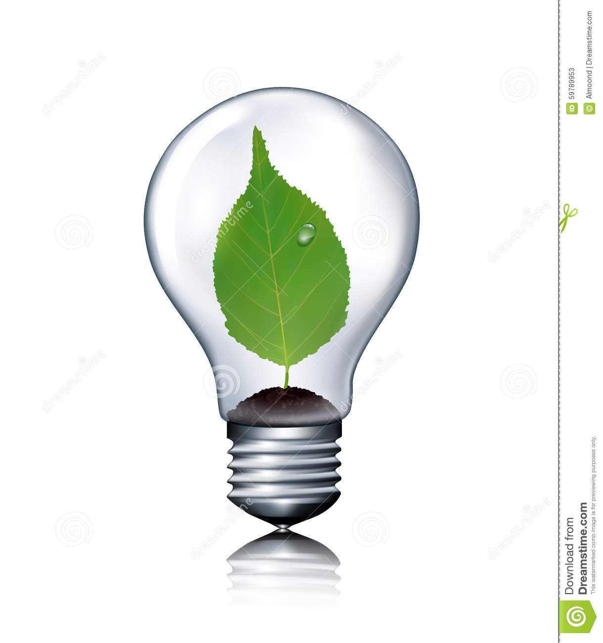 Eco Light Bulb With Green Leaf Stock Vector Image 59789953