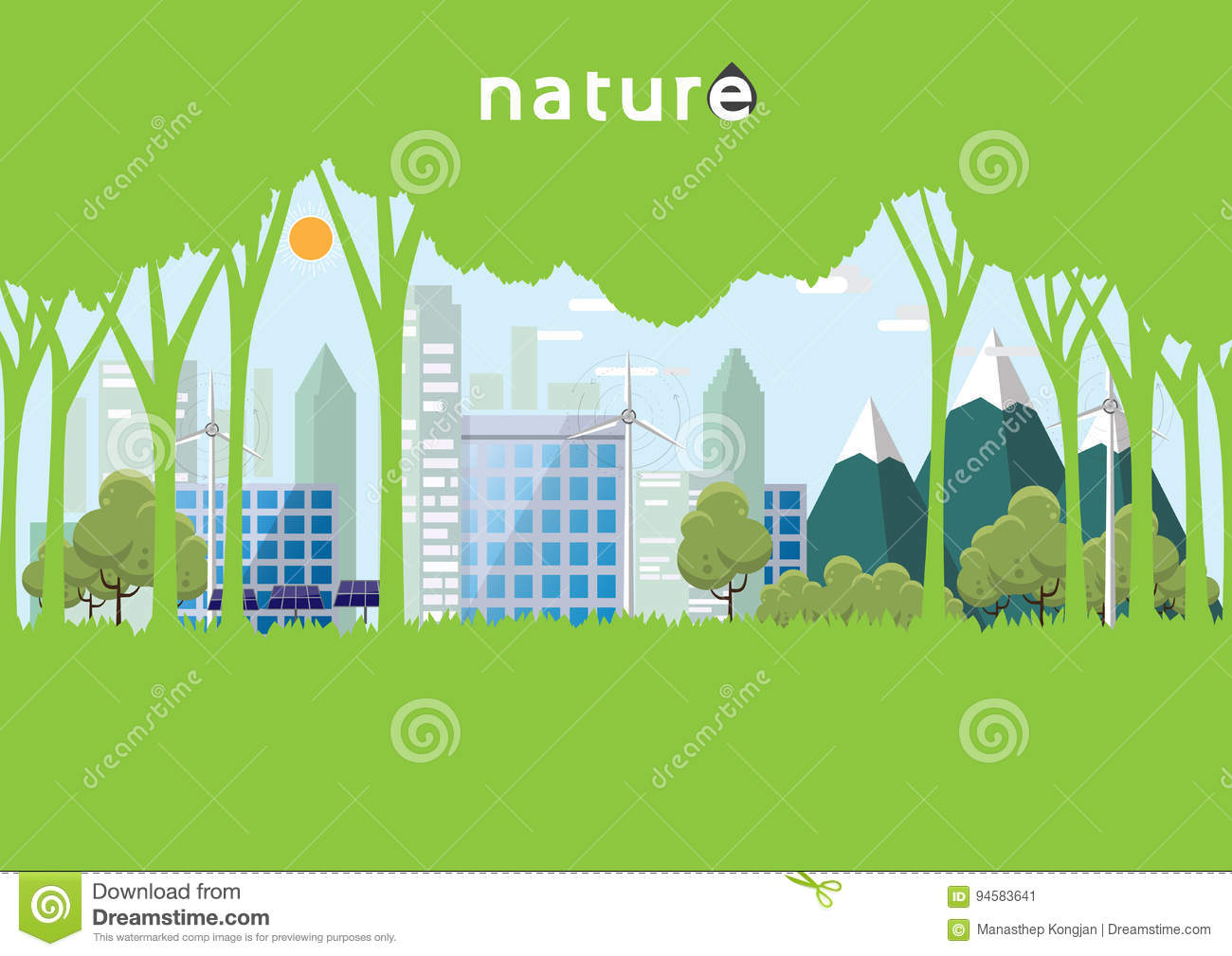 eco and nature template design with forest and city in flat design