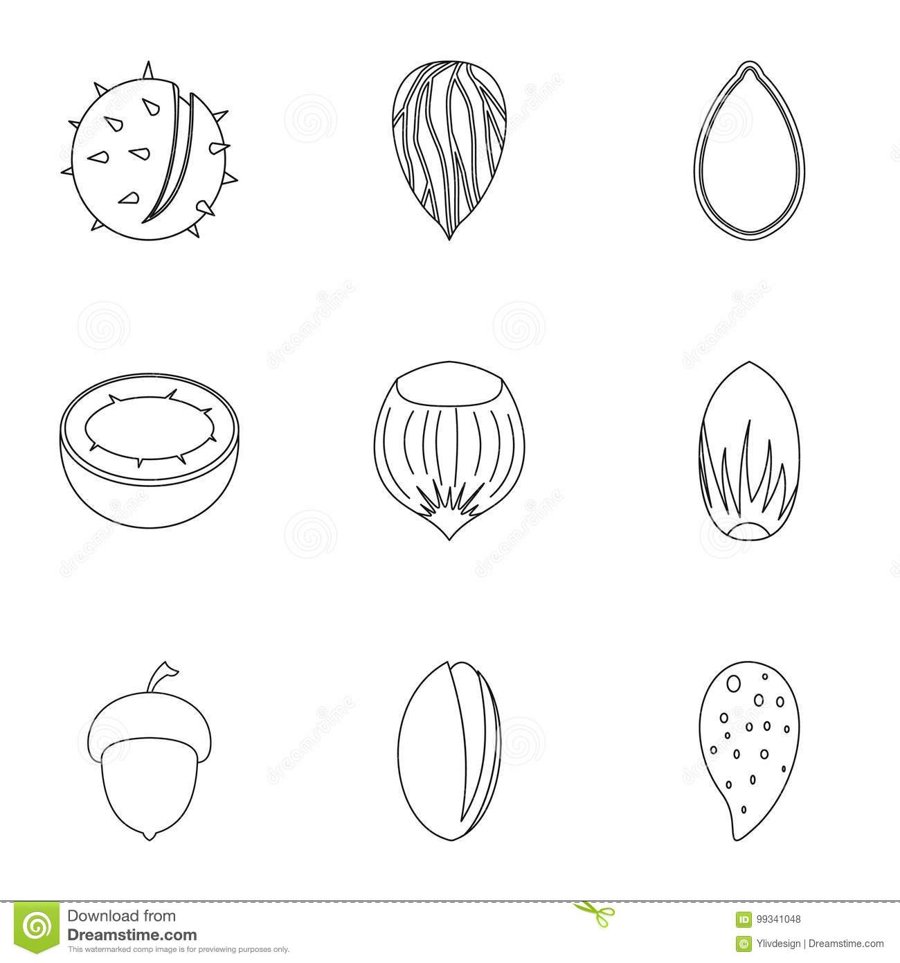 Eco nuts icon set outline style stock vector for Decor outline