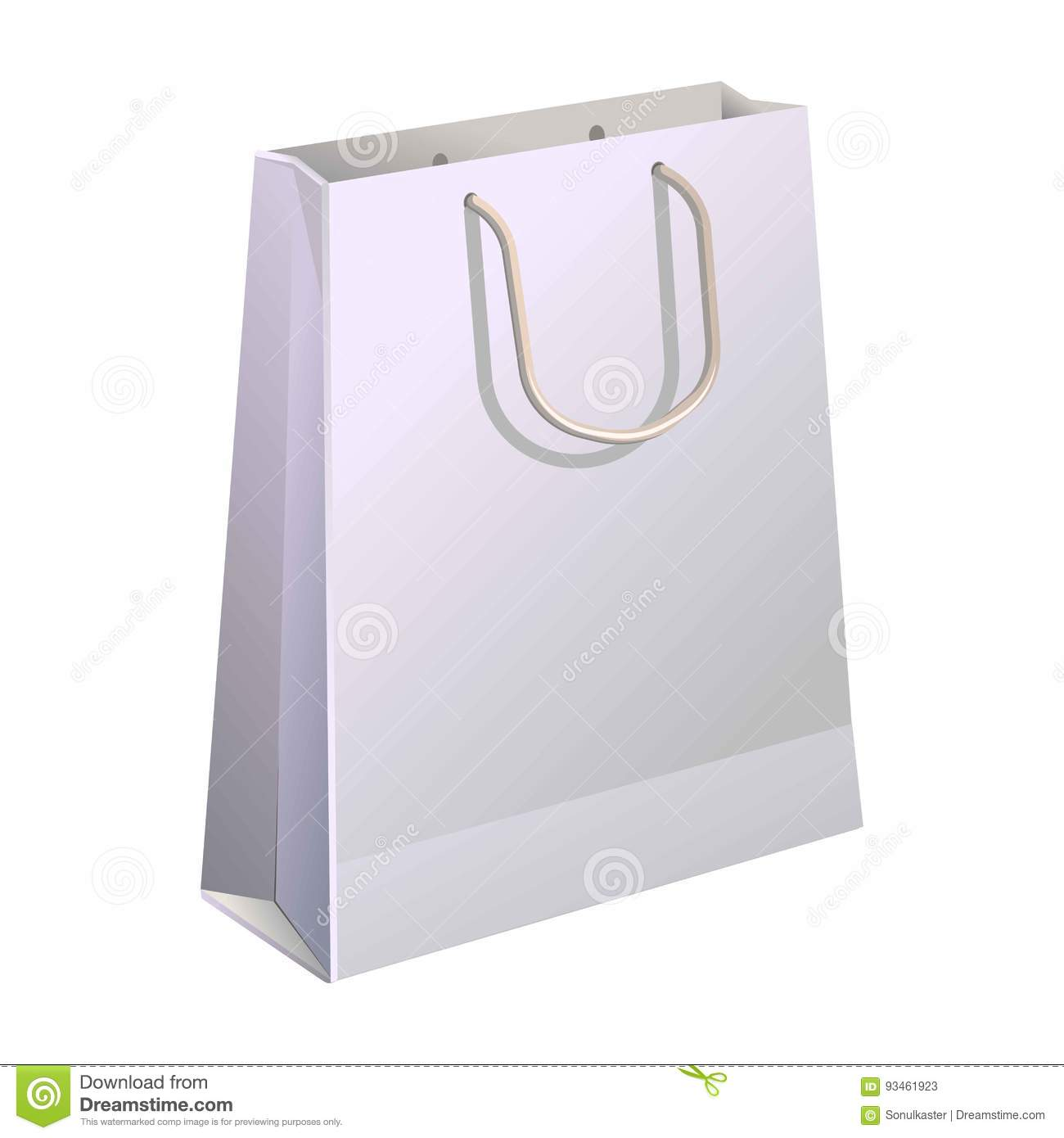 Eco package banner in flat cartoon style. Paper shopping bag