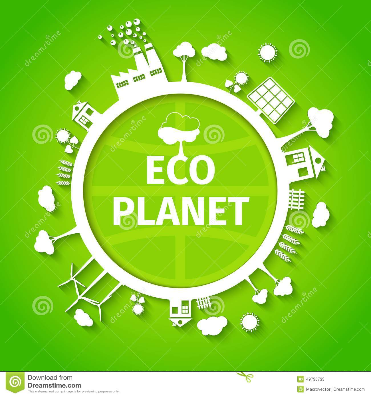 Eco Planet Background Poster Stock Vector Illustration