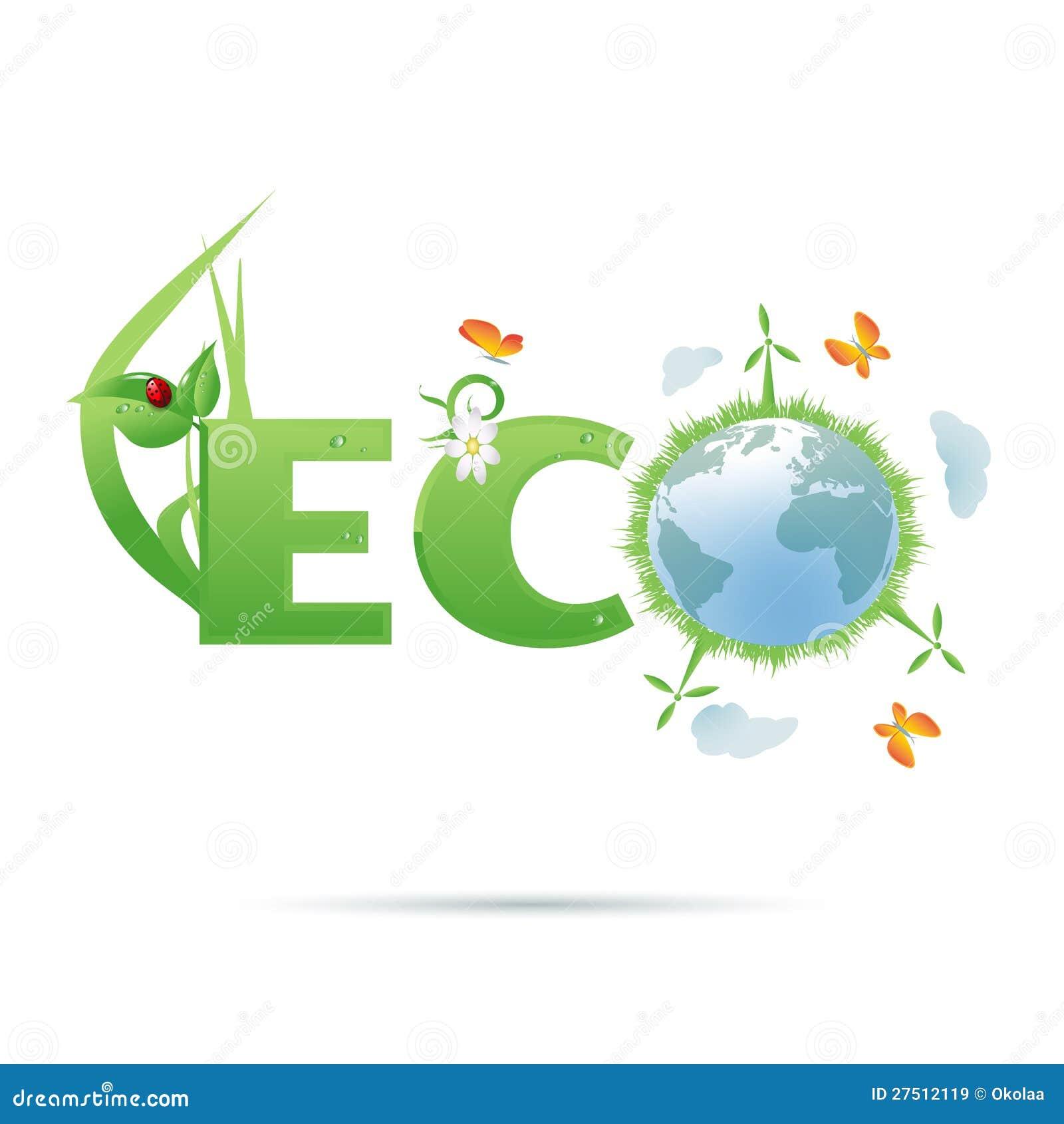Eco planet Text Symbol Royalty Free Stock Image