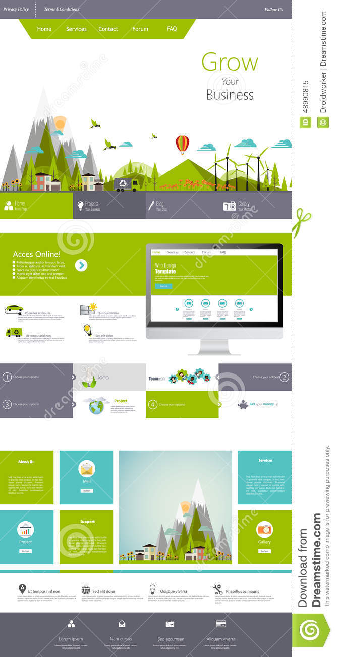 Eco plano moderno una plantilla del dise o del sitio web for Del website