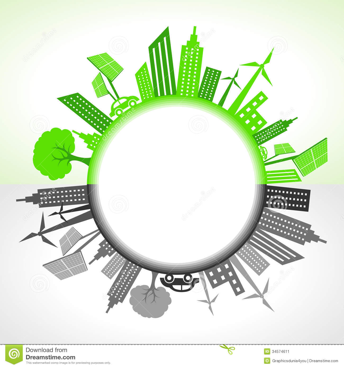 eco and polluted city around circle stock image   image