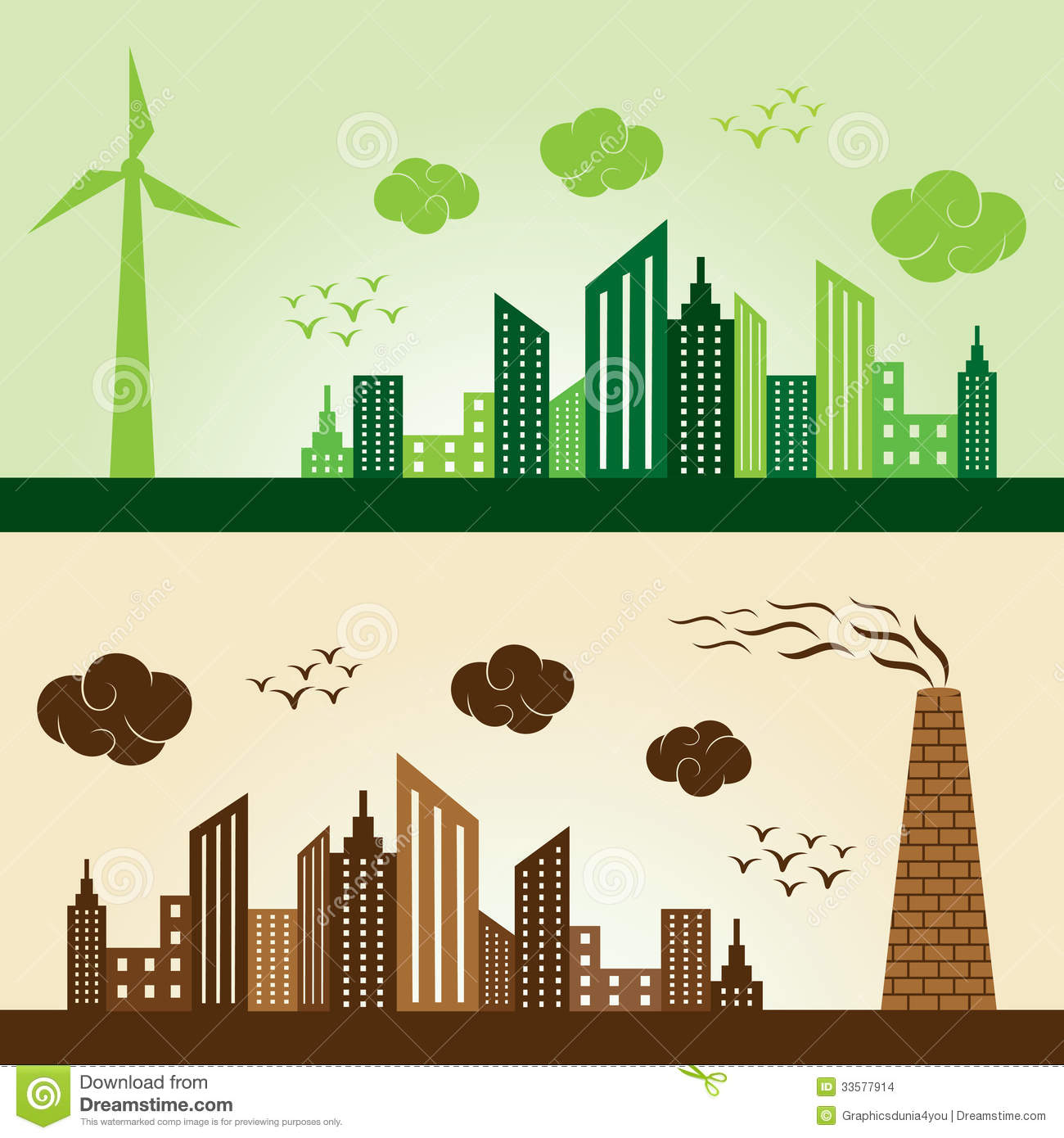 Eco And Polluted City Concept Background Stock Images ...