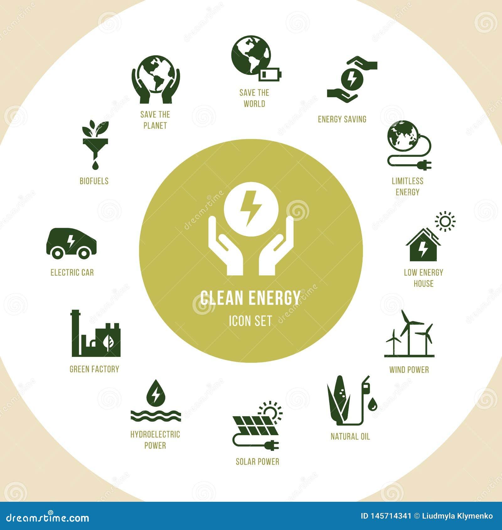 Eco samling med olika symboler p? temat av ekologi och gr?n energi