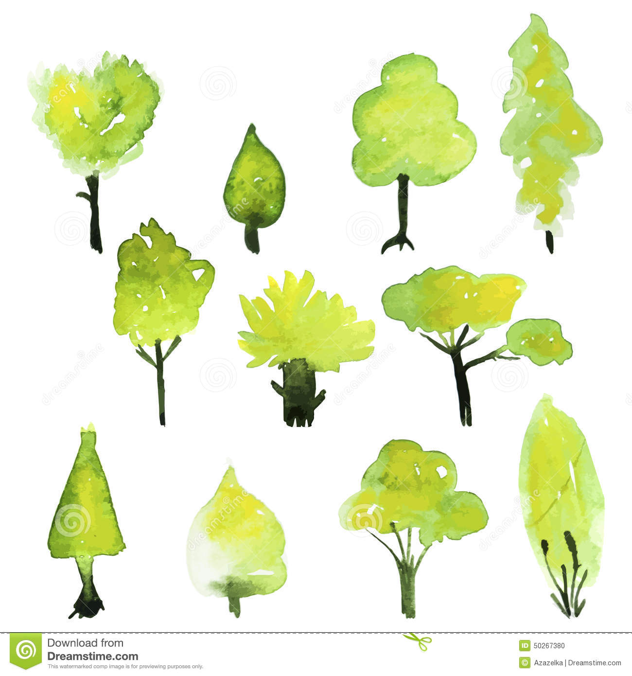 Eco Set Of Watercolor Green Trees. Vector Spring Tree Collection ...
