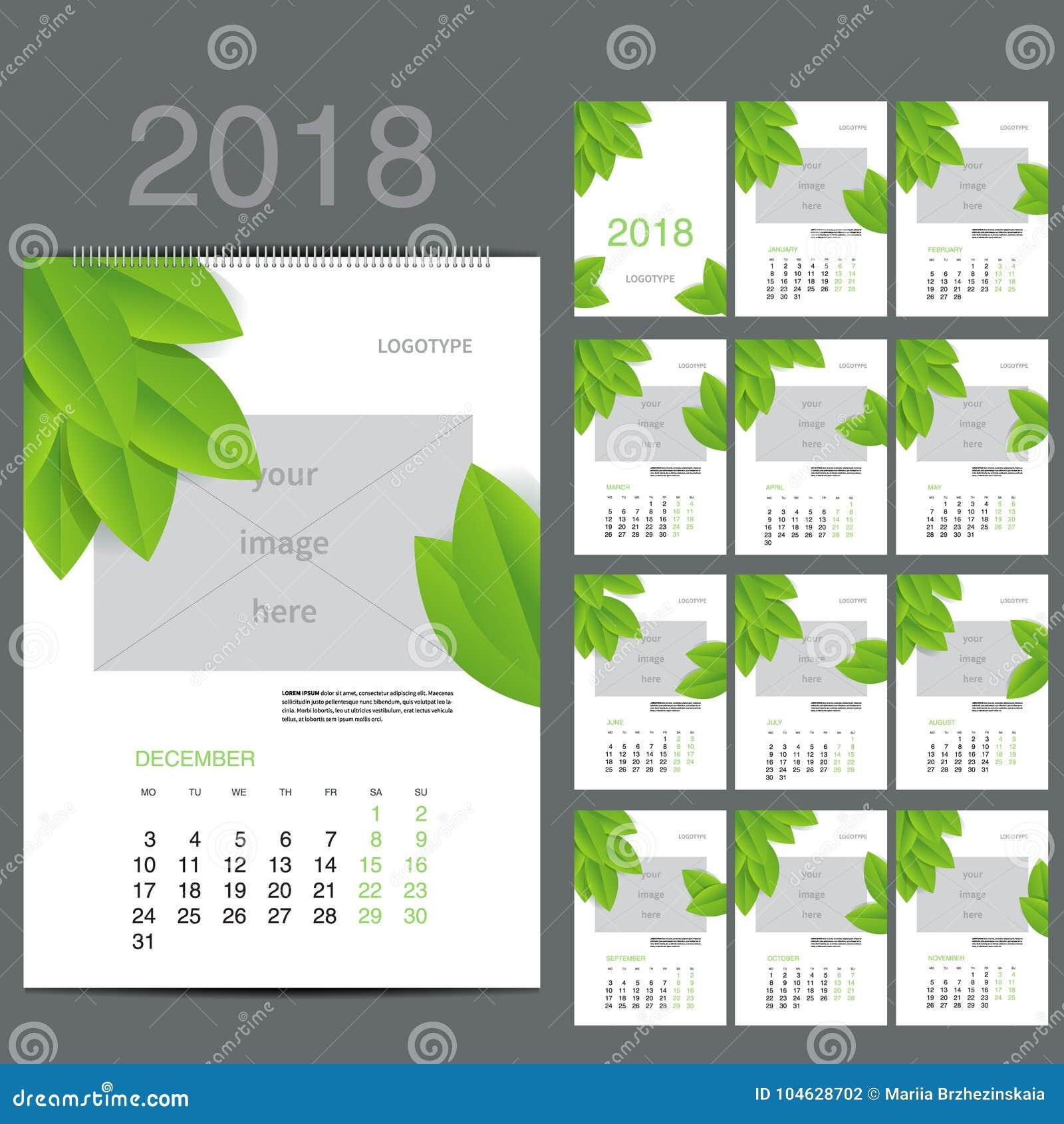 Download ECO-stijlkalender Van 2016 Vector Illustratie Vector Illustratie - Illustratie bestaande uit maand, illustratie: 104628702