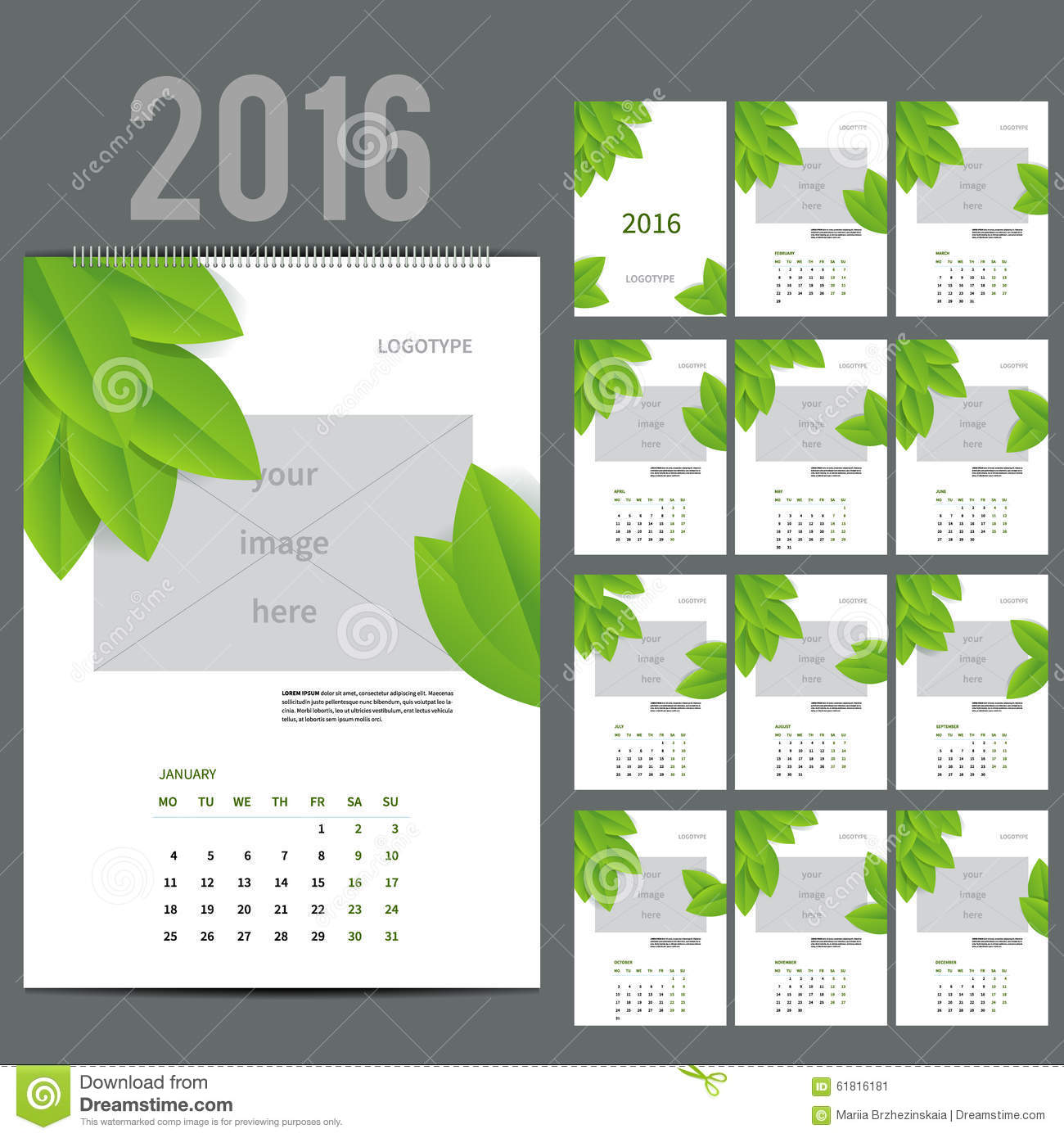 Corporate Calendar Design 2016 : Eco style calendar of vector illustration stock
