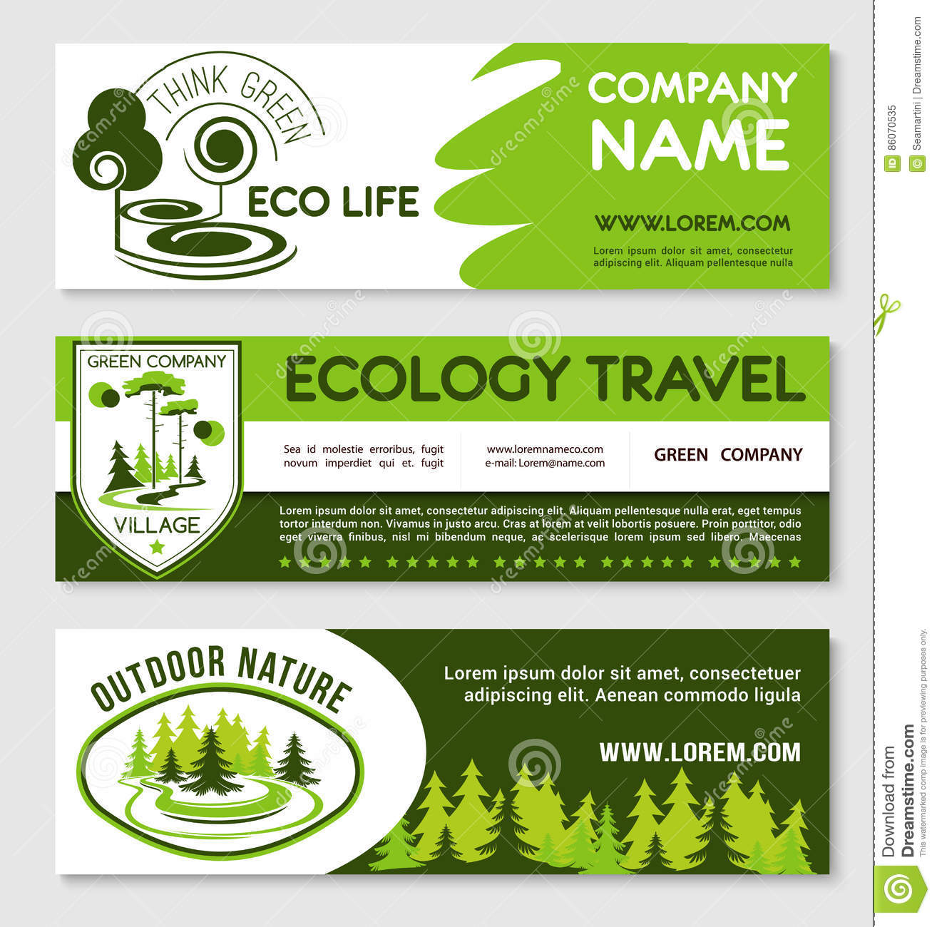 Eco Tourism And Green Travel Banner Template Set Stock Vector