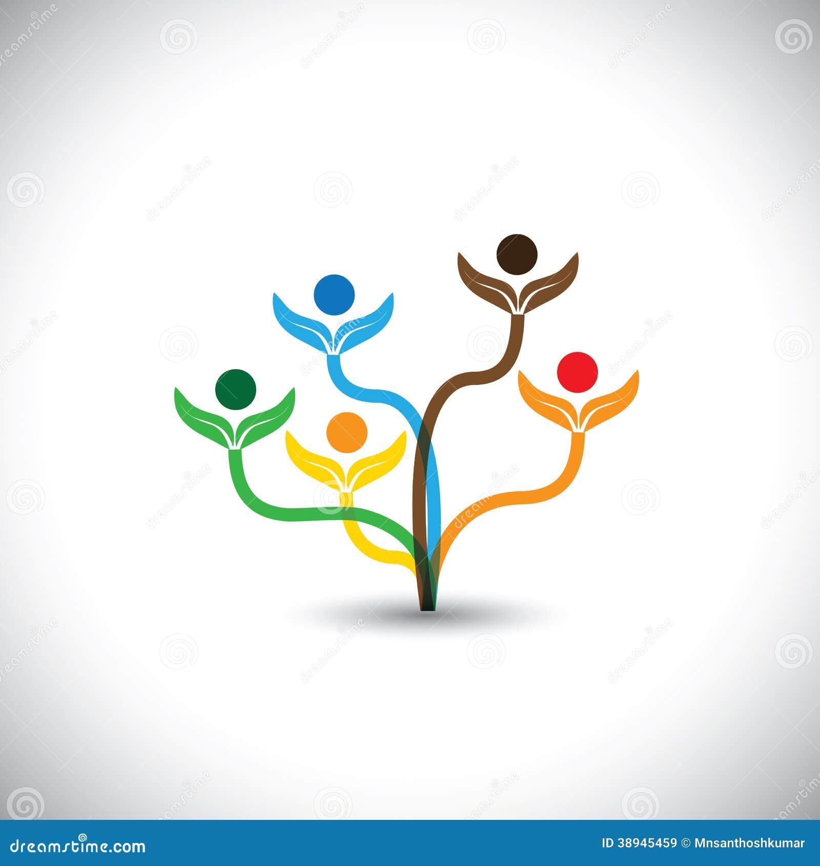 Eco-Vektorikone - Stammbaum und Teamwork-Konzept