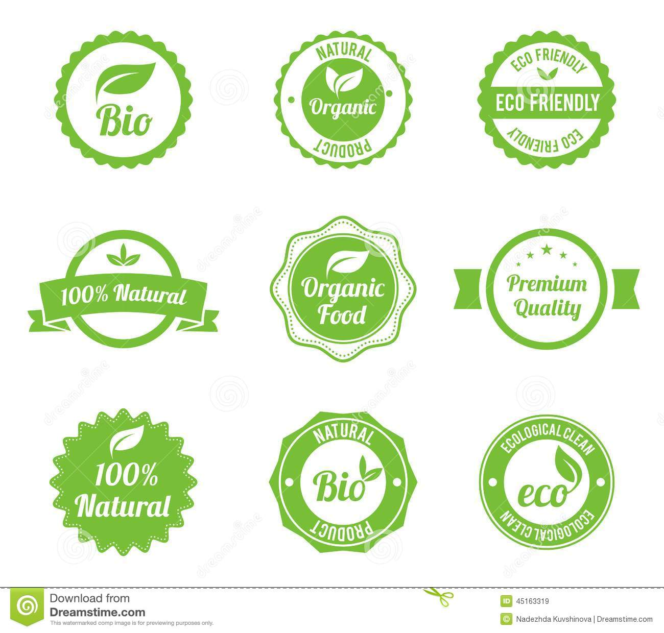 Eco Vintage Labels Bio Template Set. Stock Vector - Illustration of ...