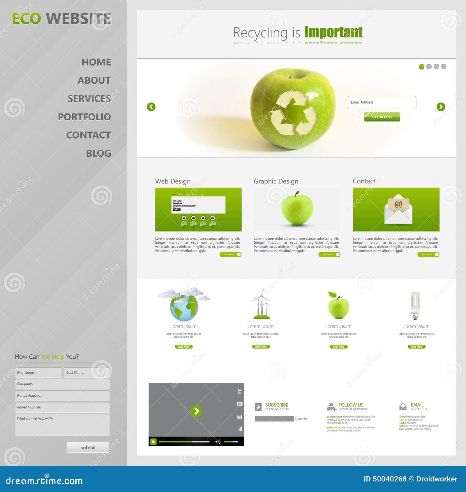 eco website template vector illustration stock vector image 50040268
