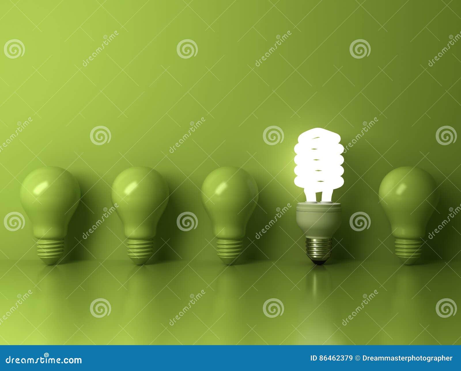 Ecoenergie - besparings gloeilamp, één gloeiende compacte fluorescente lightbulb die van bezinning van unlit de gloeiende bollen