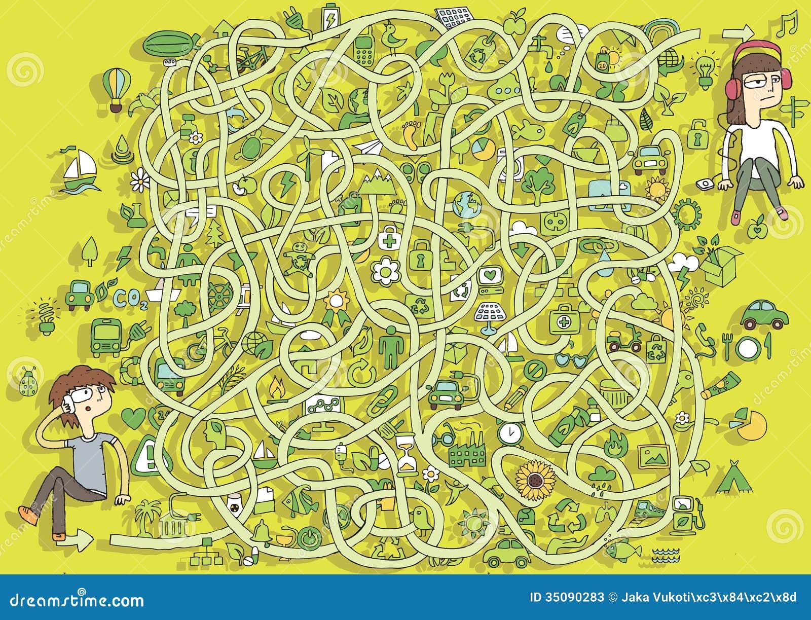 Ecología Maze Game. ¡Solución en capa ocultada!